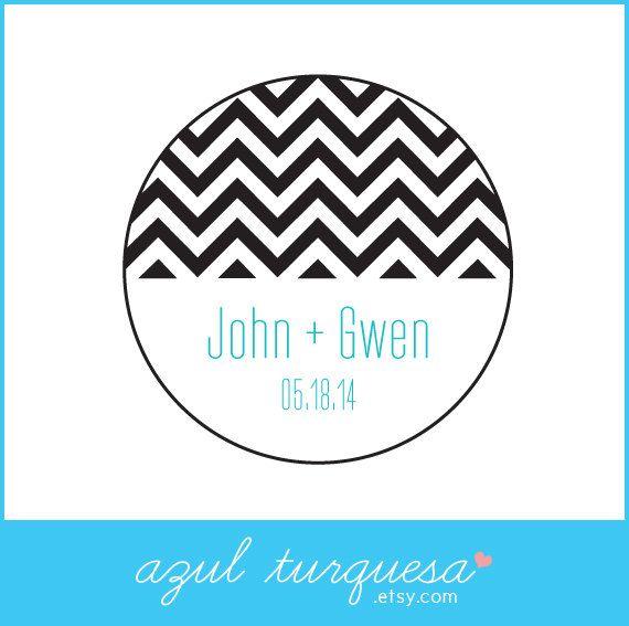 30 personalized chevron wedding stickers circle by azulturquesa 6 00