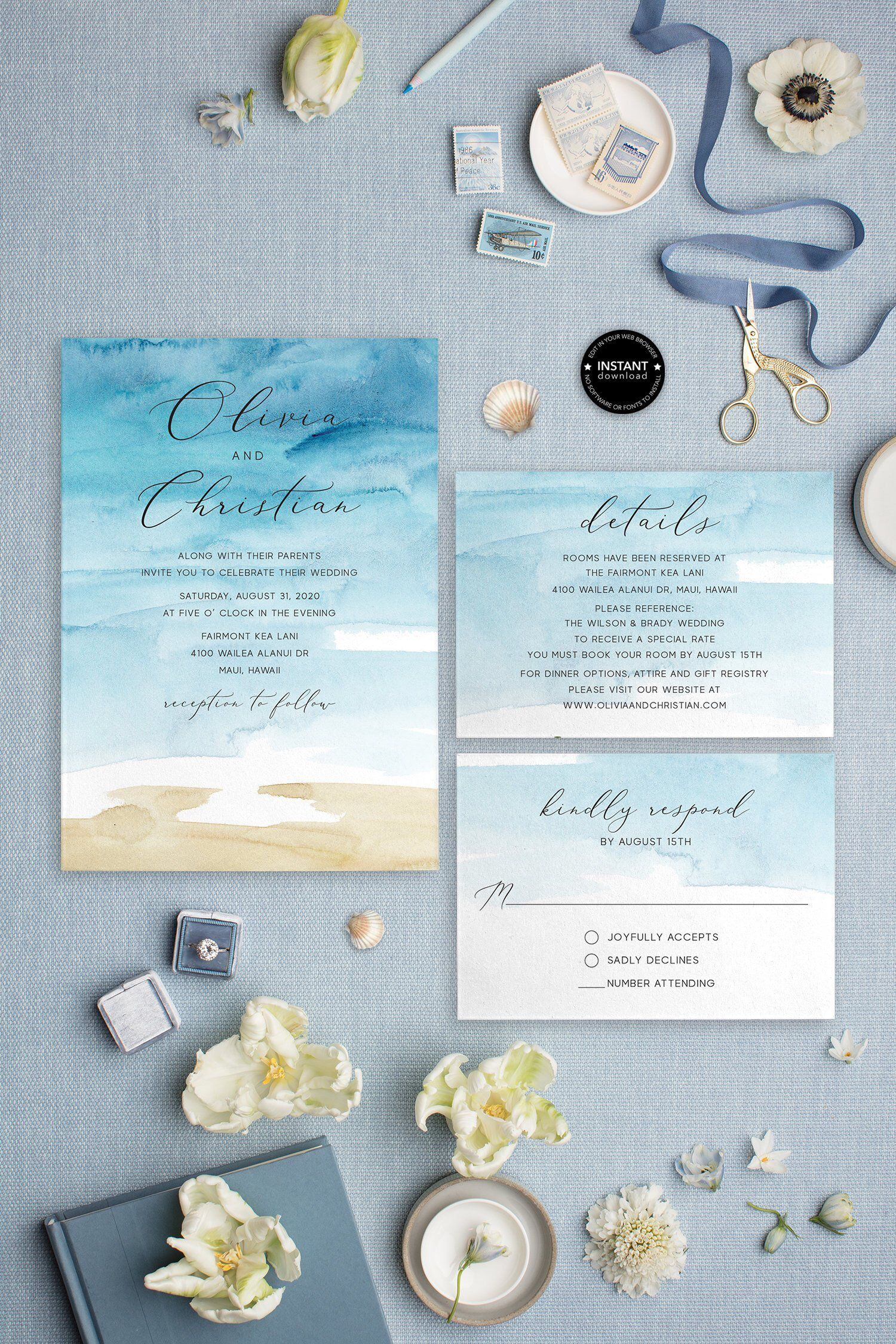 Beach Wedding Invitation Template Destination Wedding Etsy Beach Wedding Invitations Watercolor Wedding Invitations Destination Wedding Invitations