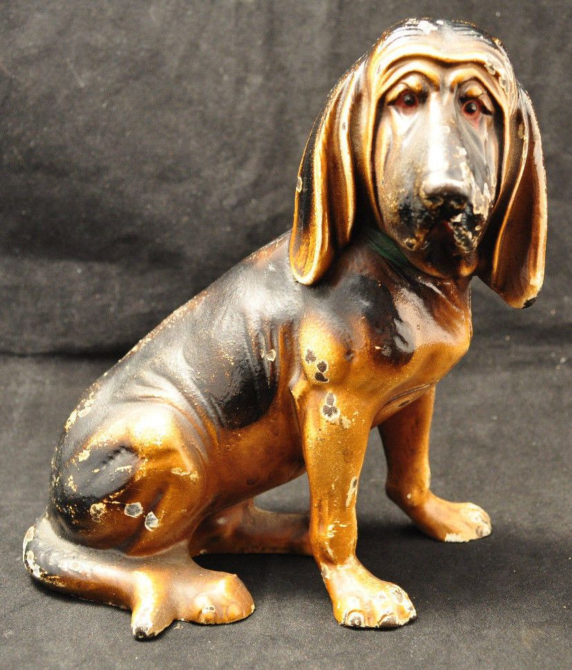 Vintage original hubley fox terrier 381 full figured large art statue - Super Rare Hubley 387 Cast Iron Bloodhound Doorstop