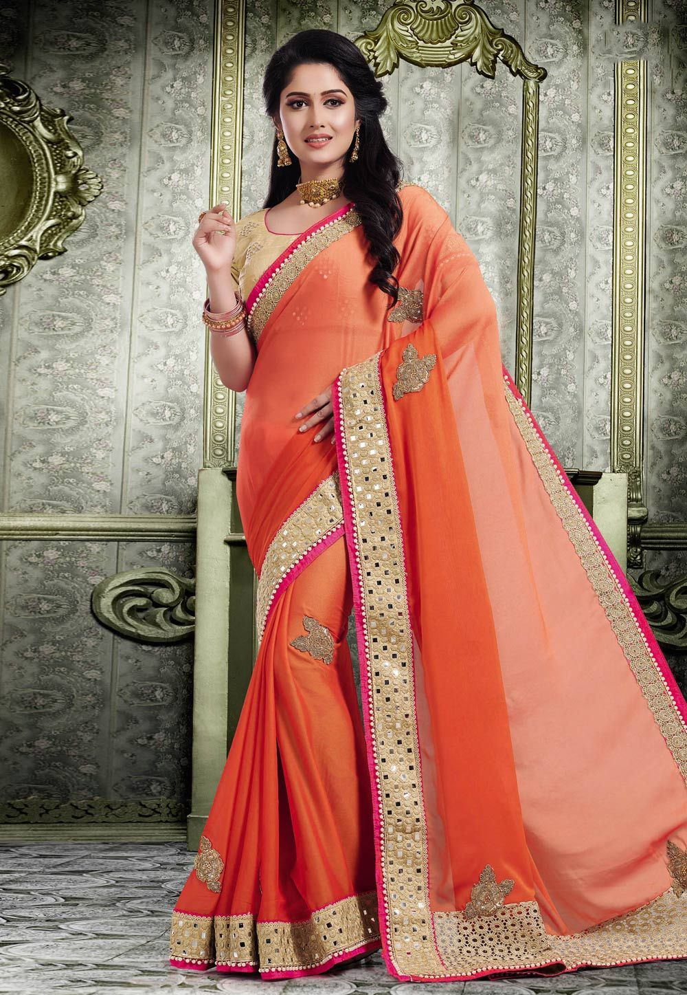 453aef7884f643 Buy Orange Chiffon Embroidered Saree With Blouse 155365 with blouse online  at lowest price from vast collection of sarees at Indianclothstore.com.