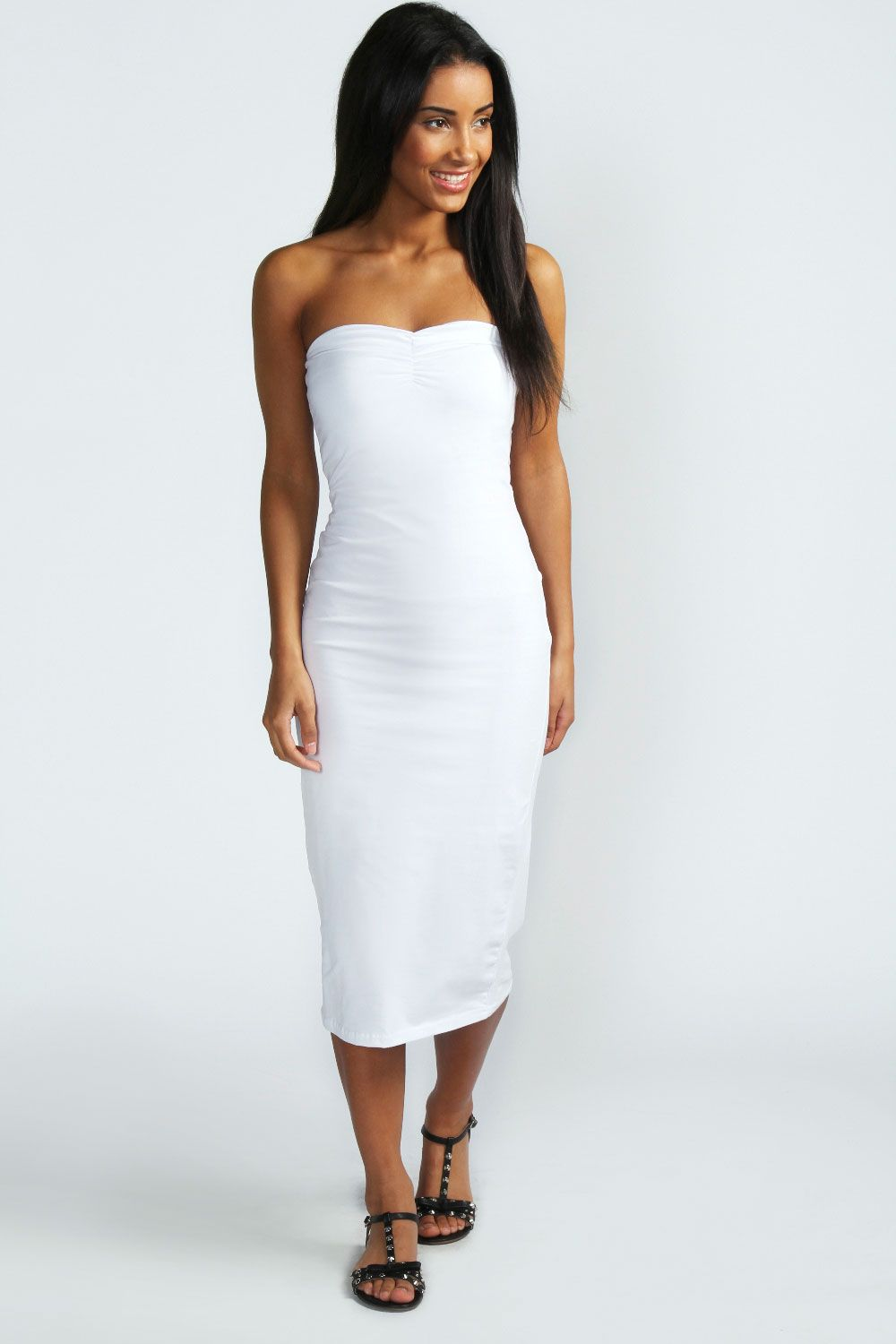 95b41df4f67 Mischa Jersey Boobtube Midi Length Dress at boohoo.com | Wedding ...
