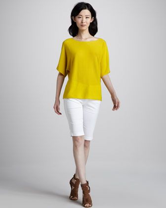 Short-Sleeve Cashmere Sweater & Twill Bermuda Shorts by Vince at Neiman Marcus.
