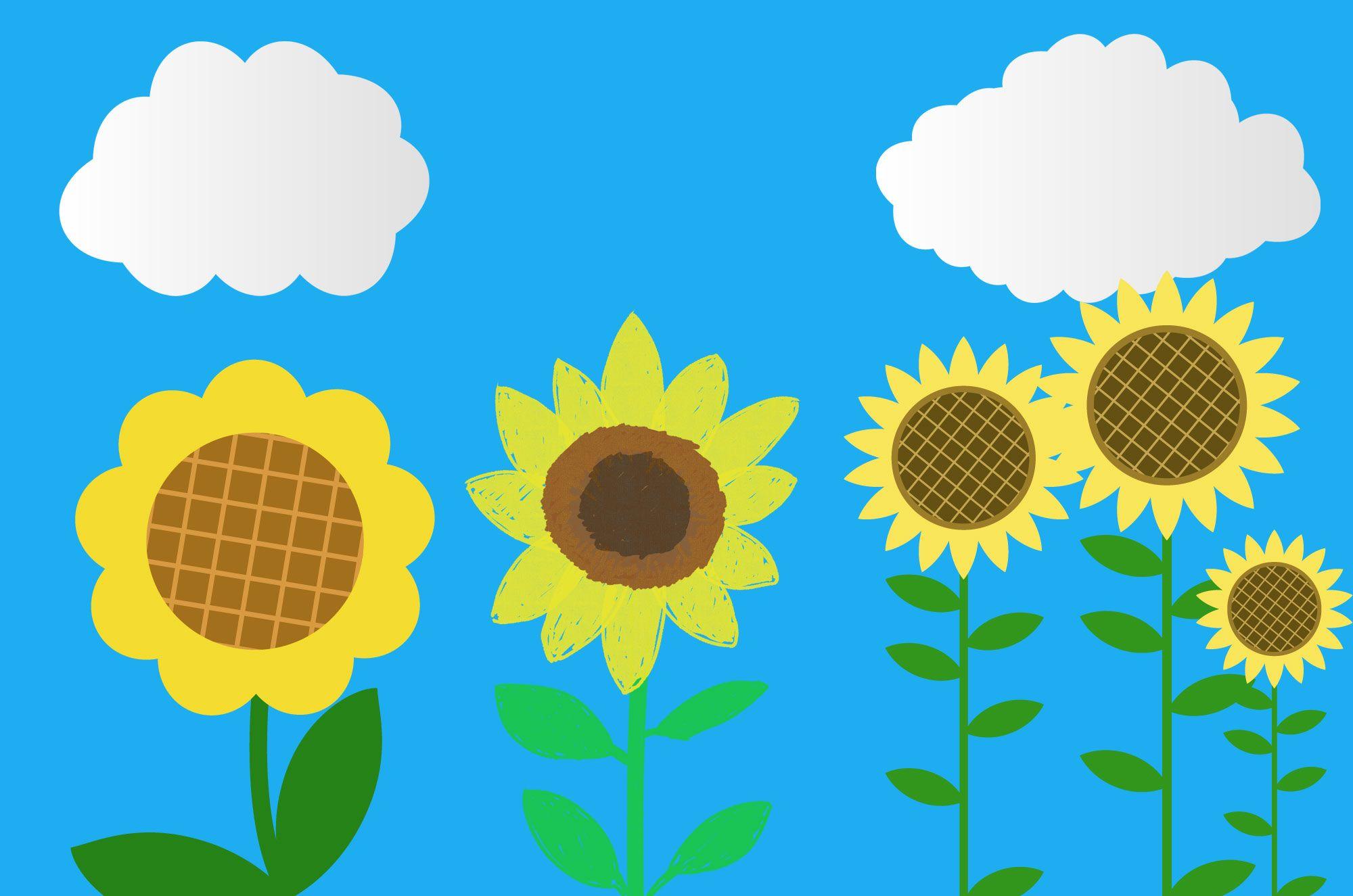 ひまわりイラスト フリーで使える可愛い向日葵素材 チコデザ 花 イラスト 無料 花 イラスト 向日葵 イラスト