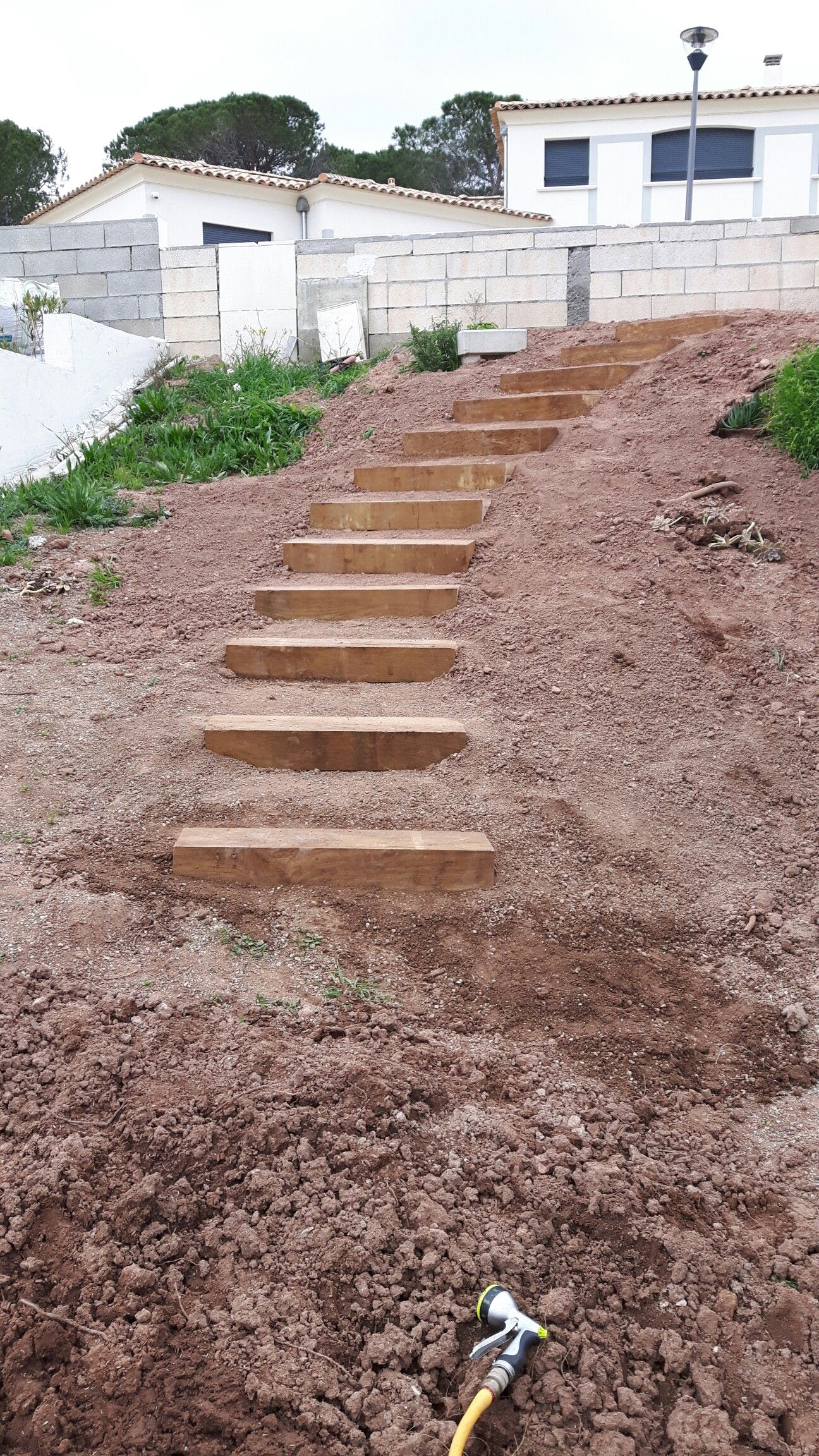 Pin By John Willis On New House Garden Stairs Large Backyard Landscaping Landscaping On A Hill