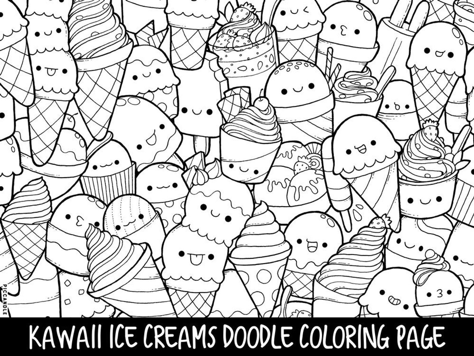 Ice Creams Doodle Coloring Page Printable Cute Kawaii Etsy Doodle Coloring Cute Coloring Pages Mermaid Coloring Pages