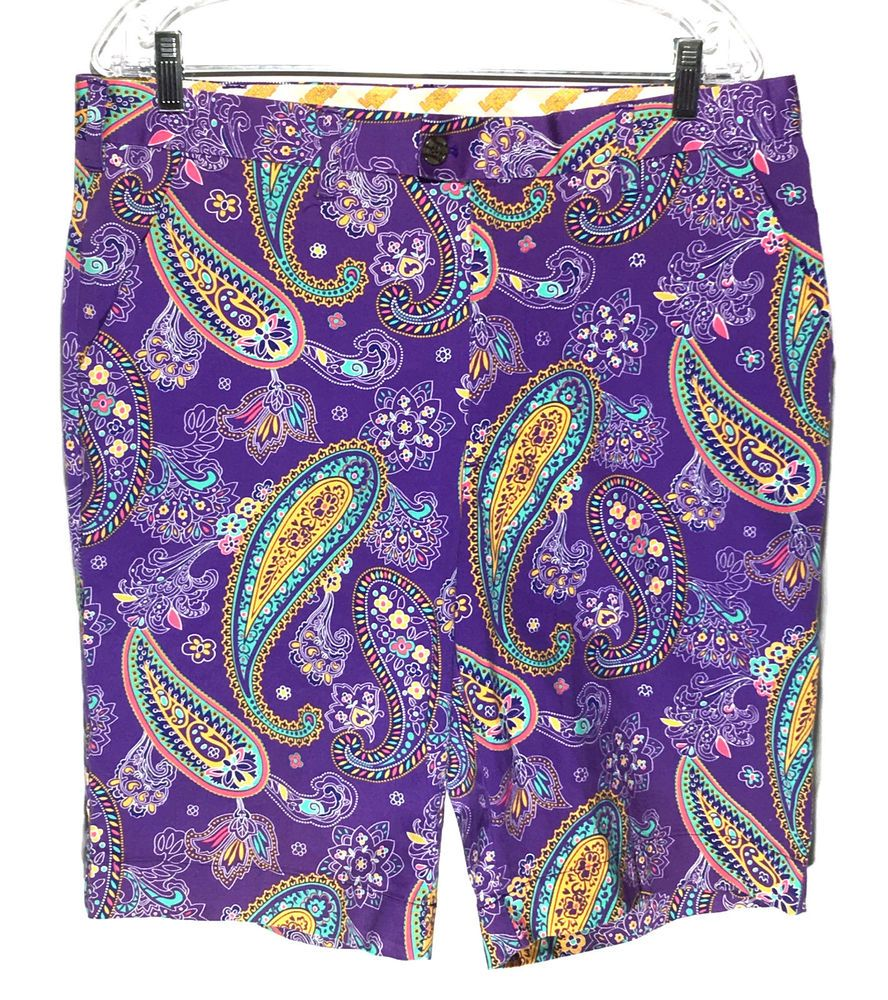 loudmouth golf purple paisley loud bright colorful cotton stretch shorts mens 36