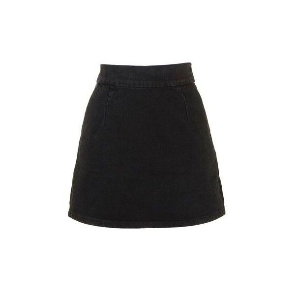 TopShop Moto Clean-Cut Denim Mini Skirt (280 SEK) ❤ liked on Polyvore featuring skirts, mini skirts, bottoms, saia, black, short mini skirts, short denim skirts, mini skirt, denim mini skirt and zipper mini skirt