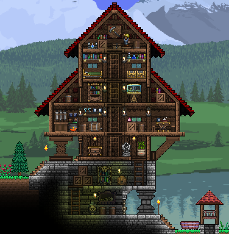 Snug House Well Terraria Terraria House Design