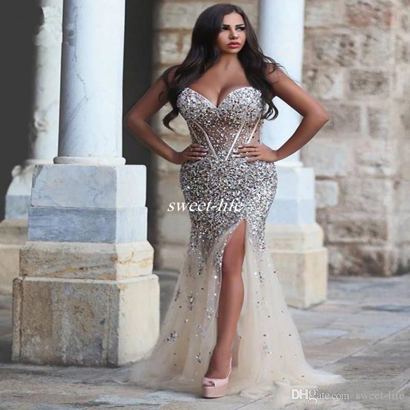 luxury crystals plus size prom dresses sweetheart neck rhinestones