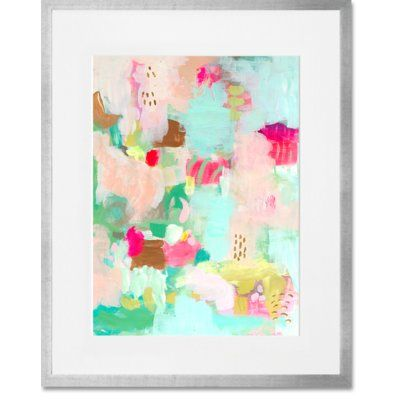 "GreenBox Art 'Apricot Magenta'  Framed Painting Print Frame Color: Silver, Size: 22"" H x 18"" W x 1.25"" D"