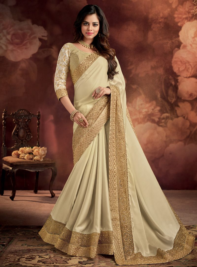 Off saree model images off white silk festival wear saree   silk saree  pinterest