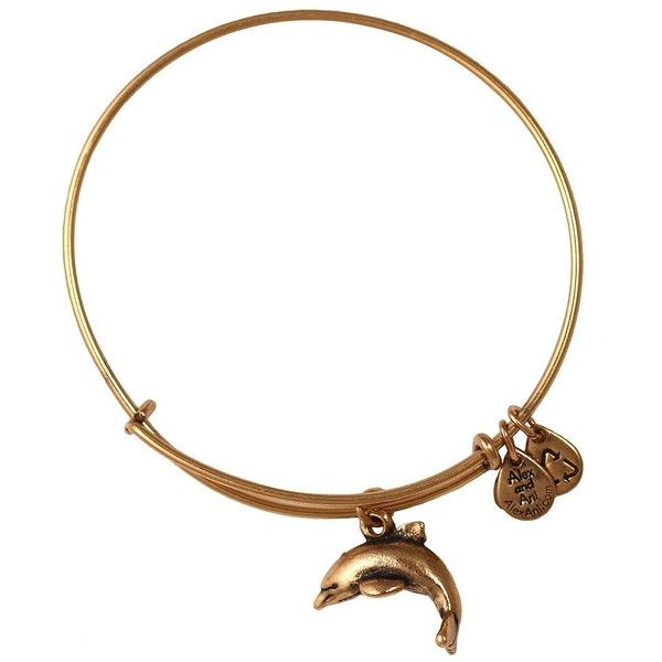 Alex And Ani Dolphin Charm Bangle Bracelet ($28) ❤ liked on Polyvore featuring jewelry, bracelets, gold, alex and ani jewelry, dolphin charm, alex and ani charms, gold jewelry and charm bangles