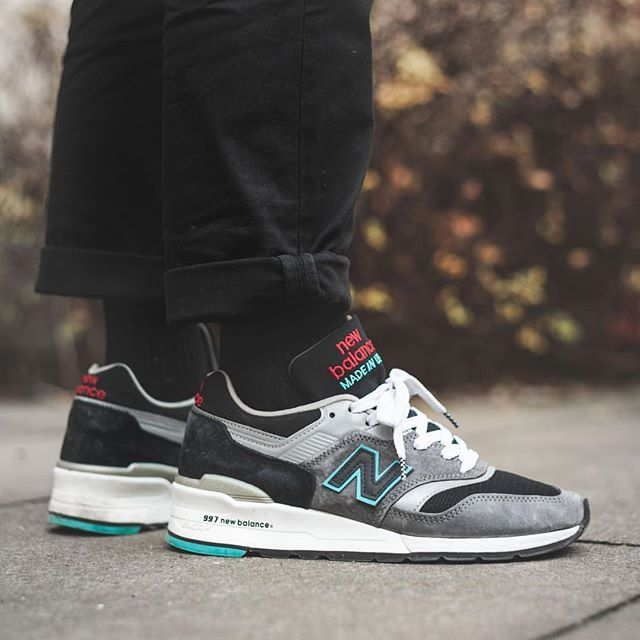 sports shoes e038c e3bde Our very own  thomaslindie wearing the  MADEINUSA  newbalance 997CGB. Love  that charcoal grey and black combination with the turquoise and red hits.