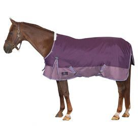 Waterproof horse blanket with twin chest straps and low cross-belly surcingles. Hind leg straps are adjustable.   Product: Horse blanketConstruction Material: Polyester, nylon and polyfillColor: Purple and lilacFeatures:  Twin chest straps and low cross belly surcinglesAdjustable hind leg straps