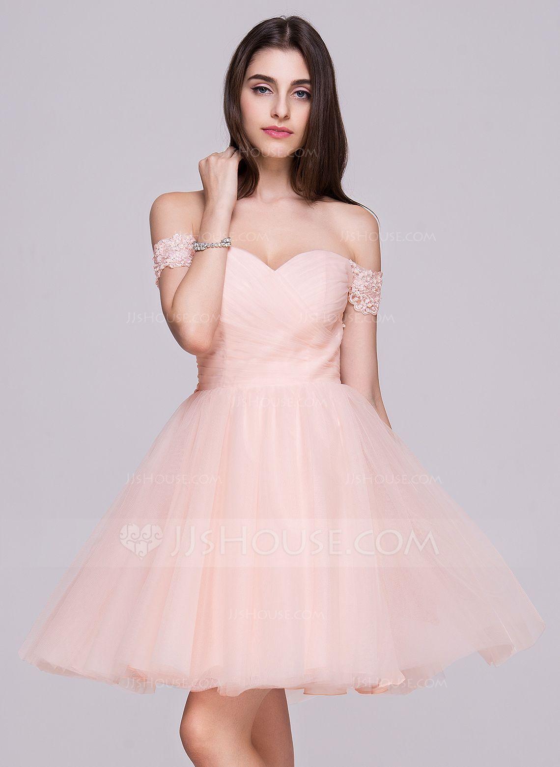 Alineprincess offtheshoulder shortmini tulle homecoming dress