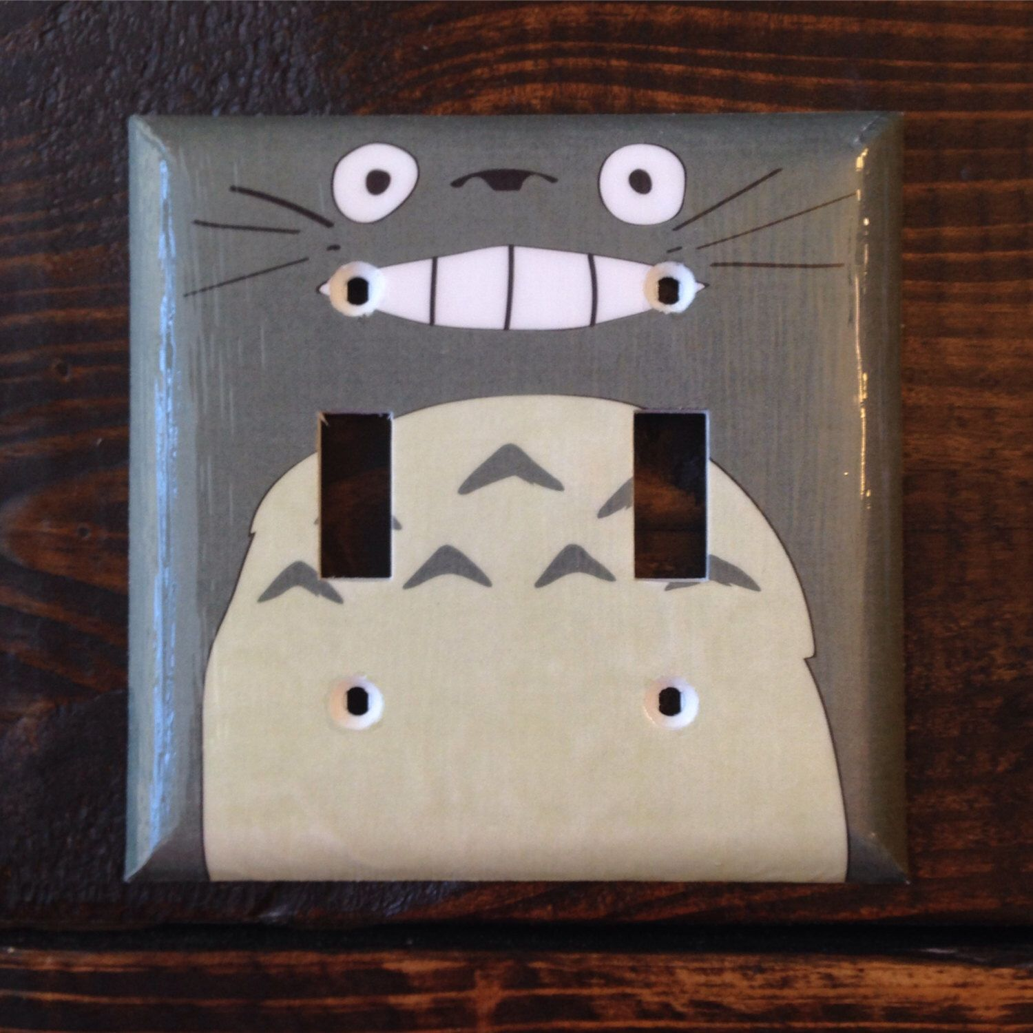 Gray Totoro Double Toggle Light Switch Cover Studio Ghibli Grey