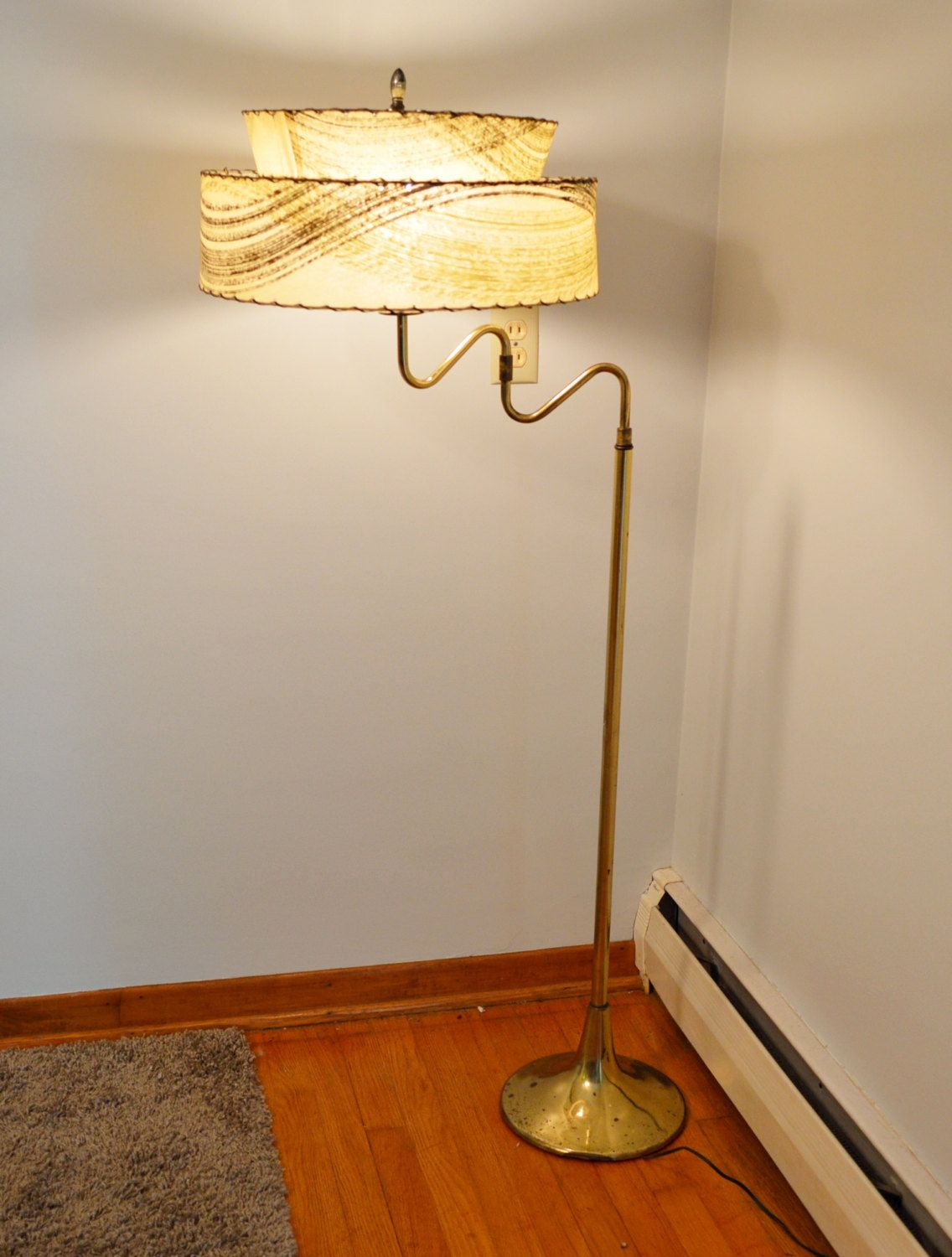 Mid Century Floor Lamp with 2 Tier Rice Paper Shade by
