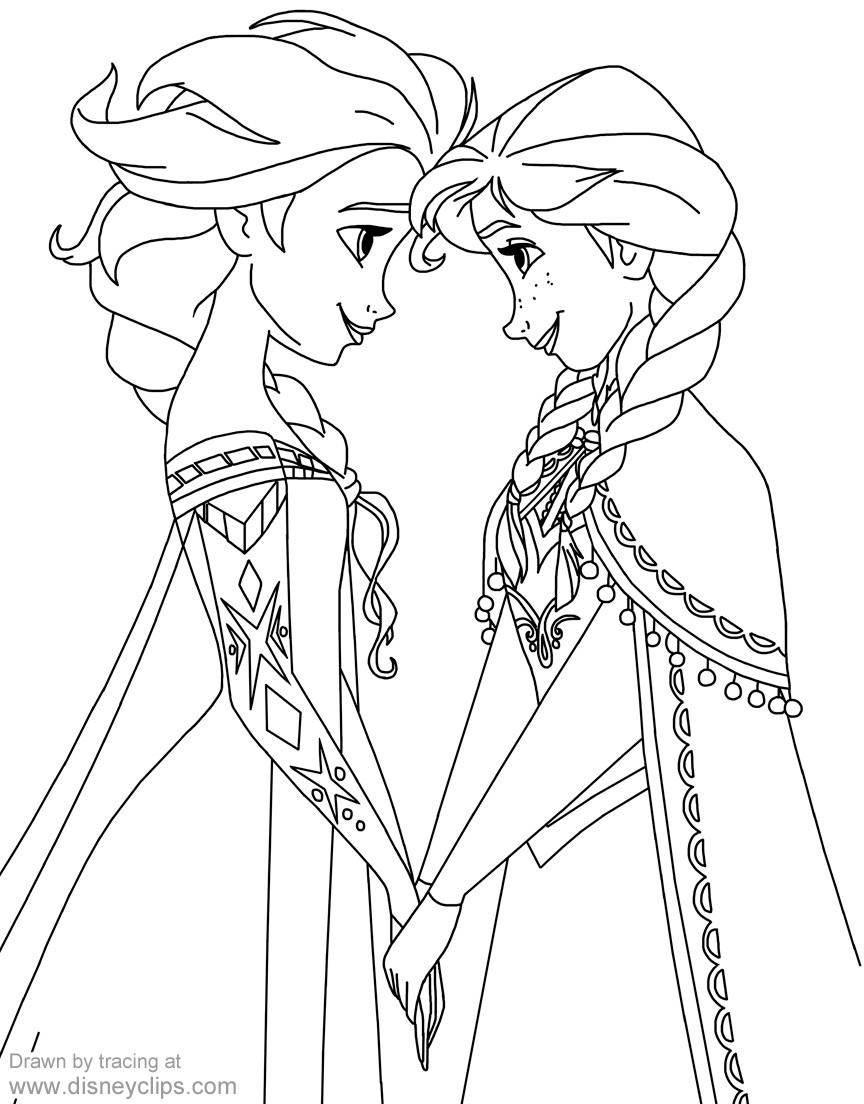 Coloring Page Of Anna And Elsa From Frozen Elsa Coloring Pages Elsa Coloring Disney Princess Coloring Pages