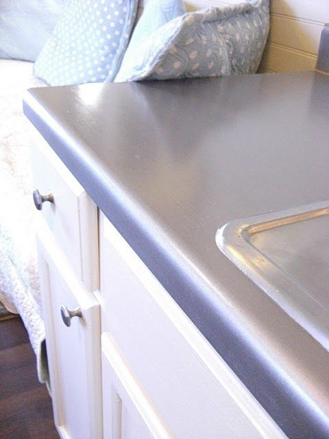 Faux Stainless Steel Painted Counter Top Work Room