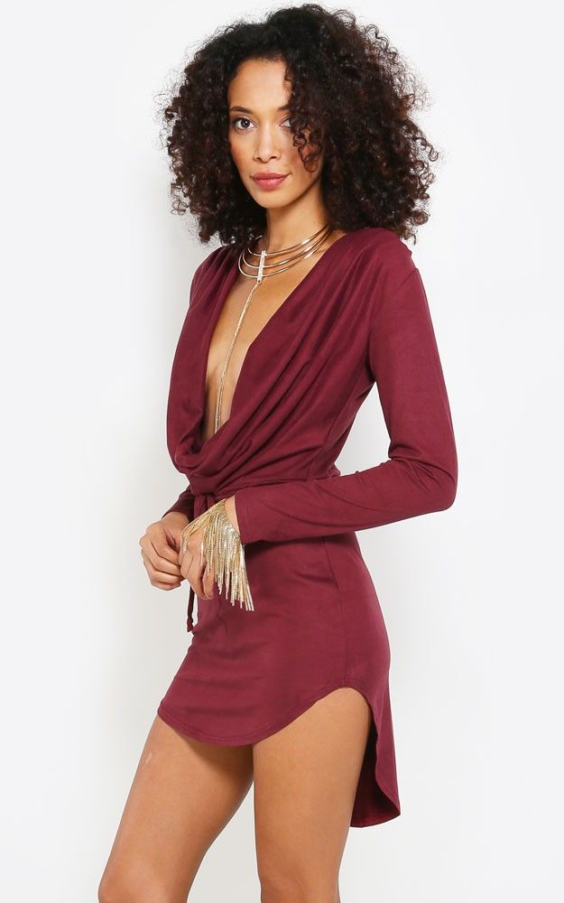 Deeply in love with this deep cowl neck suede dress. Glam it up with a longline  necklace and bracelets. I MakeMeChic.com 001e50b1a