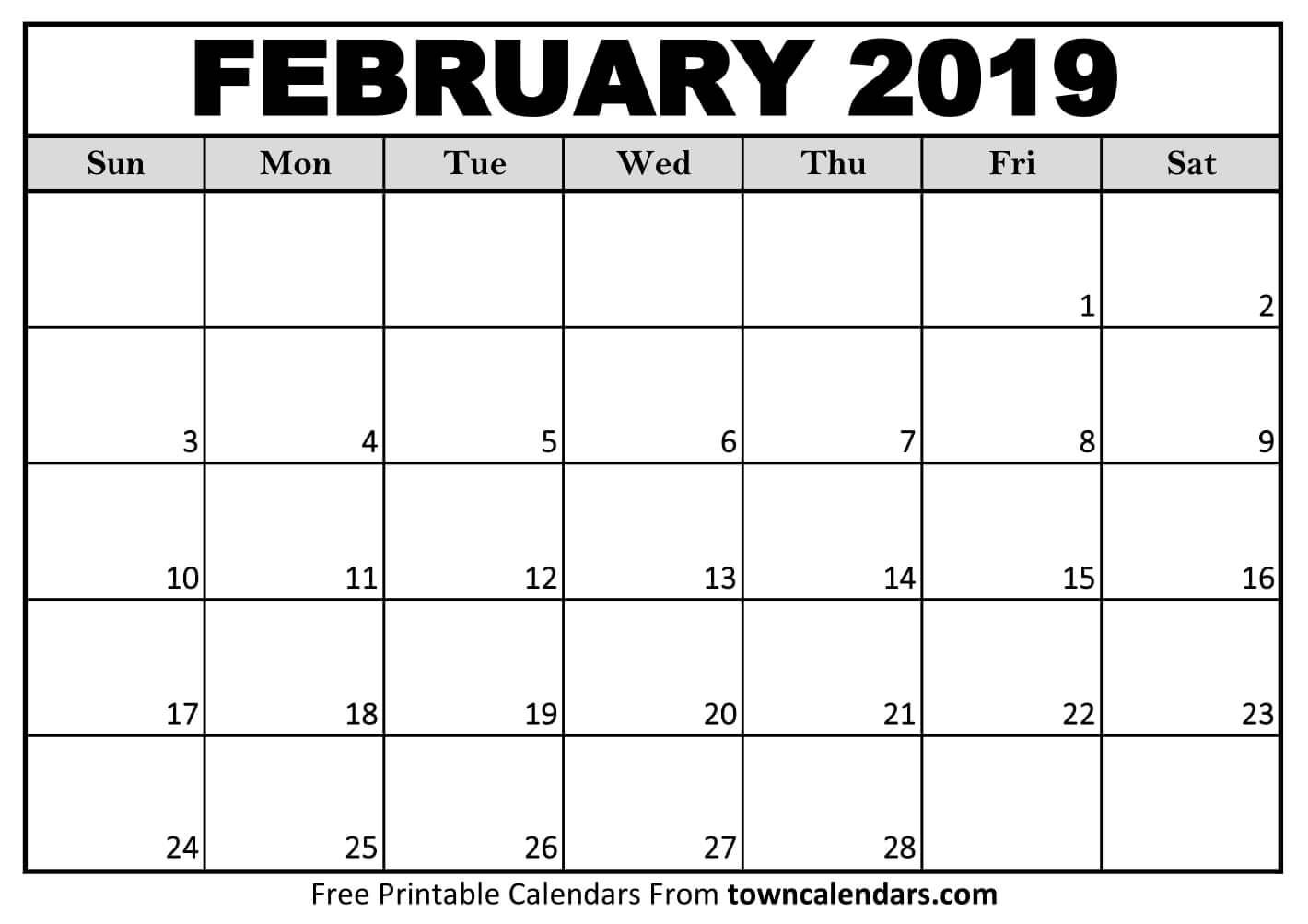 Waterproof February 2019 Calendar free february 2019 waterproof calendar | 2019 Calendars | Calendar