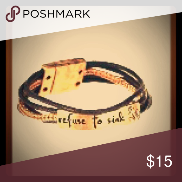 Refuse To Sink Leather U0026 Gold Inspiration Bracelet