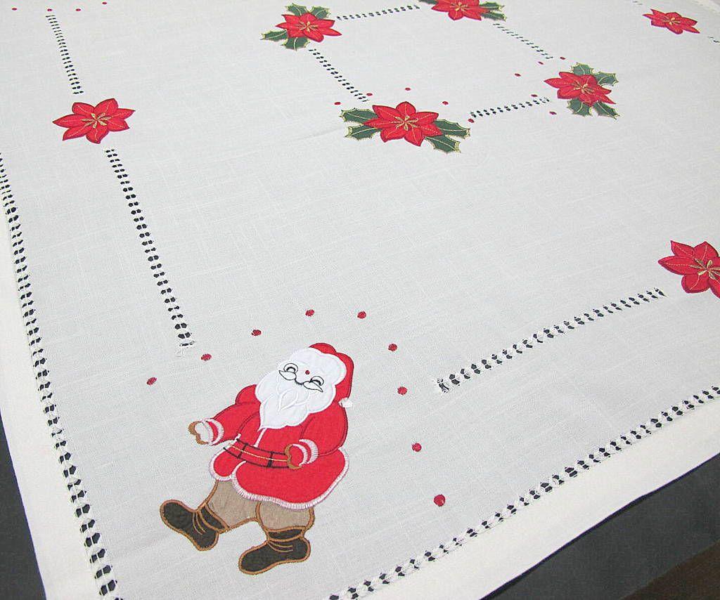 Mantel de navidad en beige ojo con la flor de pascua - Manteles de navidad ...