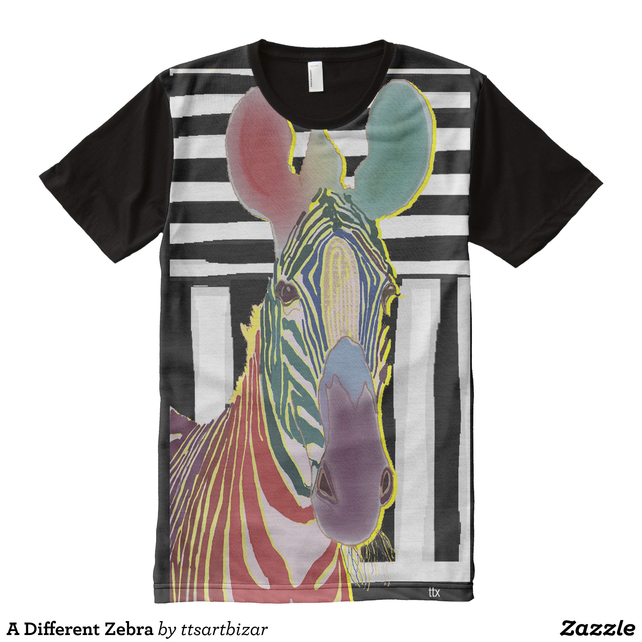 A Different Zebra All Over Print Shirt Visually Stunning Graphic T Shirts By Talented Fashion Designers Shirts Tshirt Designs Printed Shirts Shirt Designs