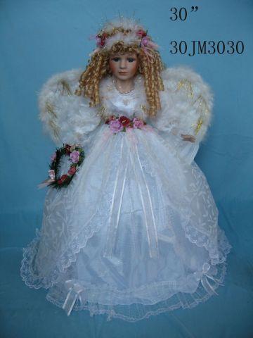 Cream 30 Inch Angel Porcelain Doll Umbrella Bottom With