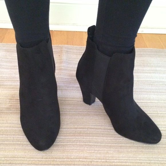 "BCBG Black Stretch Suede booties The BCBGeneration DONAHUE bootie in a soft Black Stretch Suede. Size 7-1/2. Heel height is 2-3/4"".  Has a sturdy square heel and versatile shape. Gold stud on tab at the back of heel. A must have for your closet! Brand new. Never worn. BCBGeneration Shoes Ankle Boots & Booties"