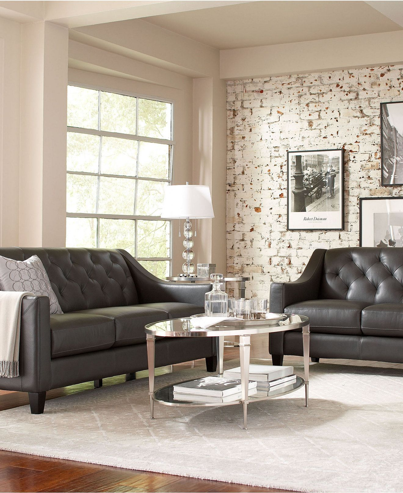 Claudia Ii Leather Sofa Living Room Furniture Collection All