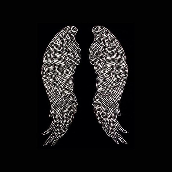 Silver Angel Wings 14x10 Faith Rhinestone Bling by BlingByBates