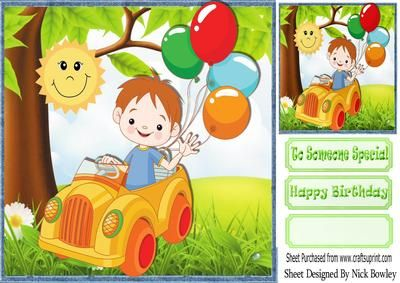 Boy in his car with balloons 8x8 on Craftsuprint - Add To Basket!