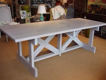 White Washed Alder Wood Dining Table Whitewashed Double Horizontal