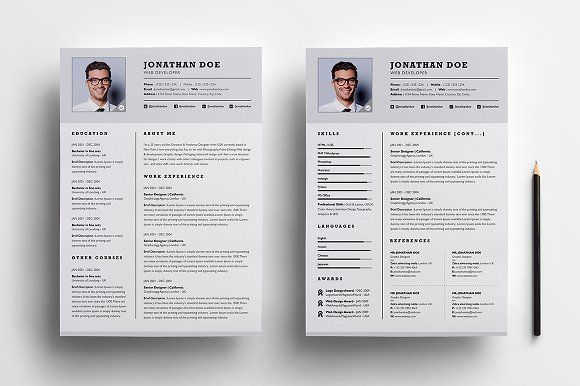 Professional Two Page Resume Set Resume Cover Letter Template Resume Template Word Resume Templates