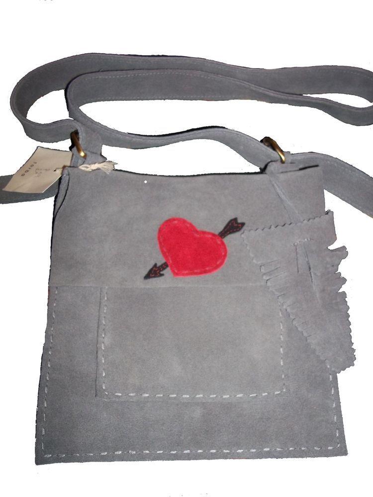 TORBA HANDMADE GREY SUEDE & RED HEART & ARROW ACROSS BODY MESSENGER BAG NEW