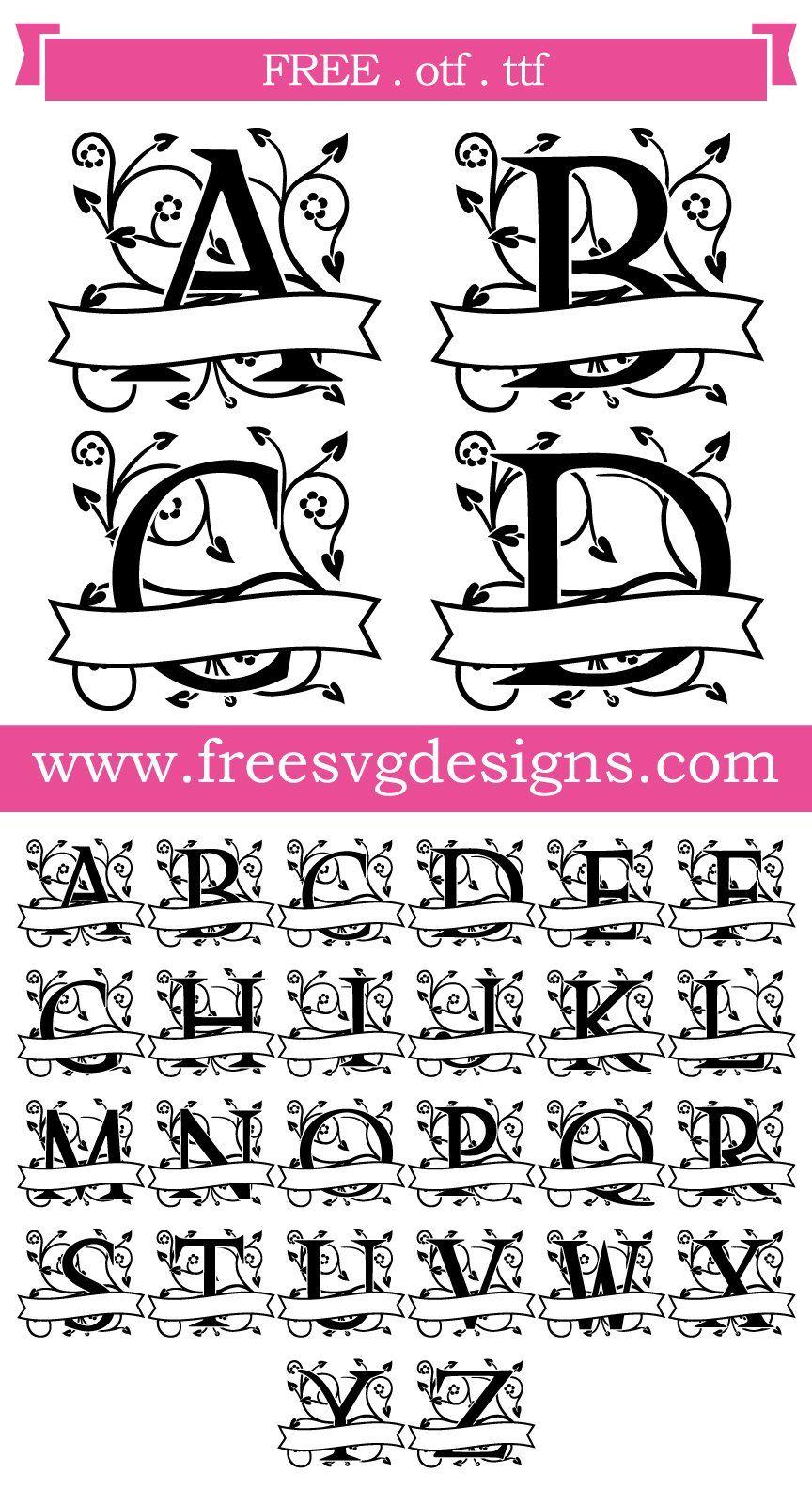Download Free SVG files Ornate Floral Banner Monogram Font at www ...