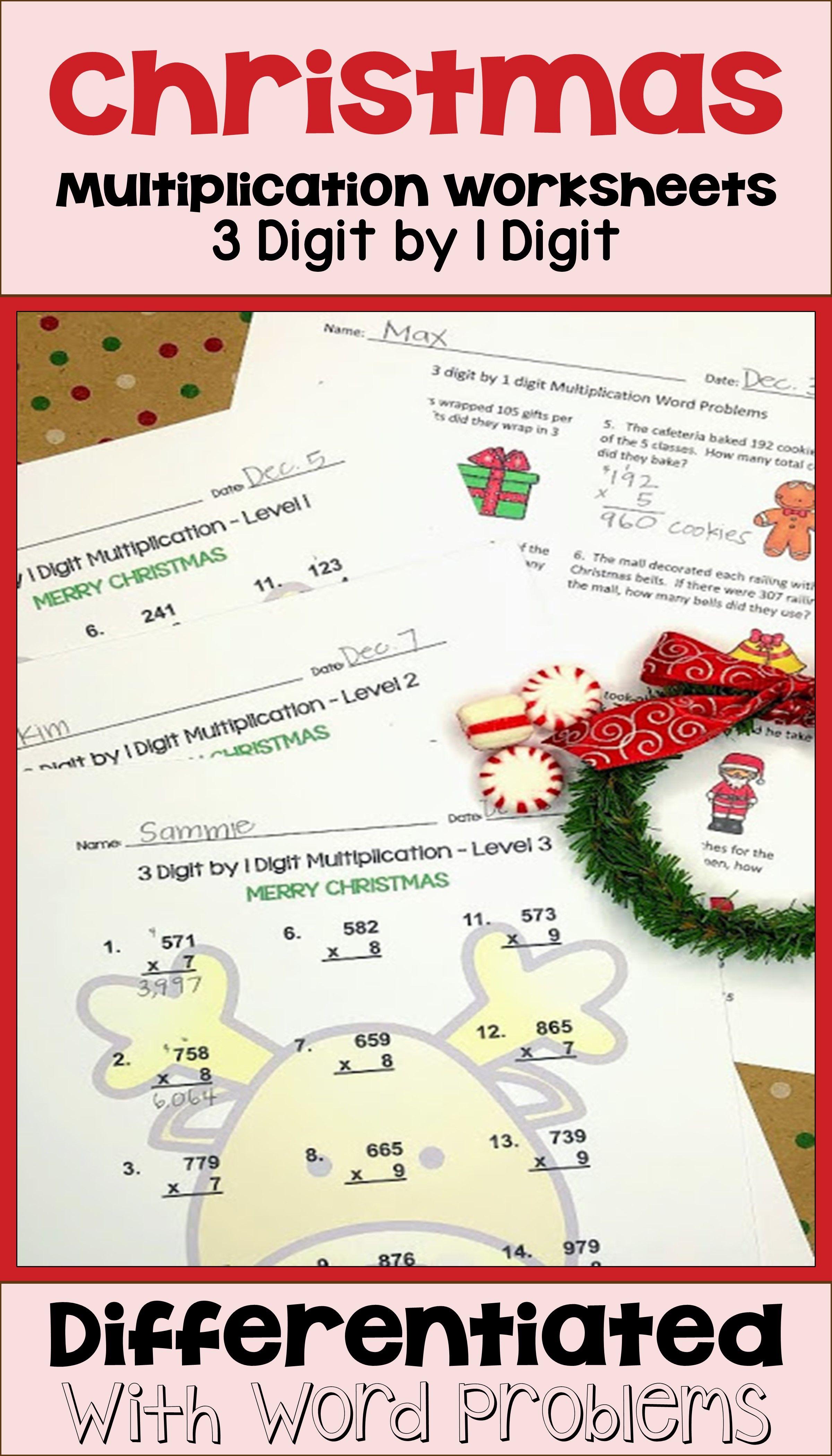 Christmas 3 Digit By 1 Digit Multiplication Worksheets Printable And Digital In 2020 Christmas Multiplication Worksheets Differentiation Math Math Centers