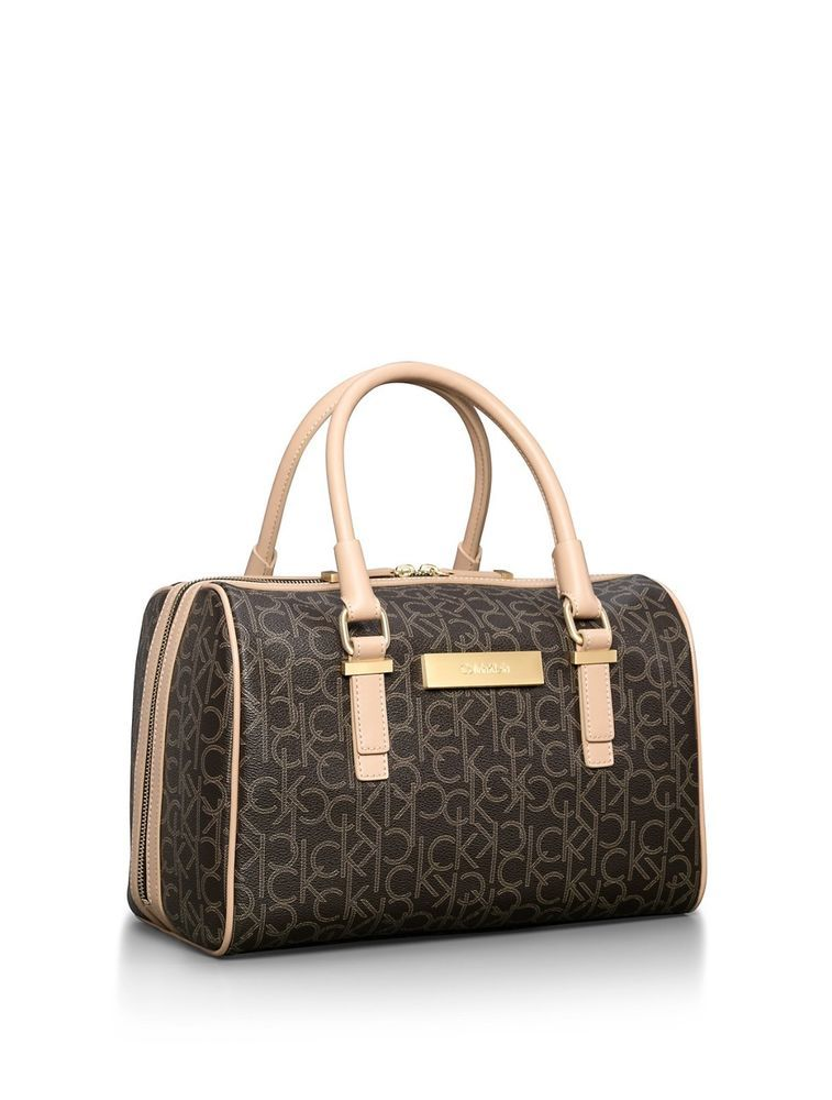 6c7a614b84c2 Calvin Klein jordan sleek satchel bag handbag Brown