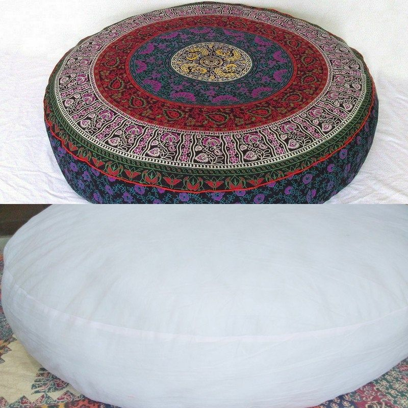 Indian Handmade Large Round Floor Pillow Multi Color