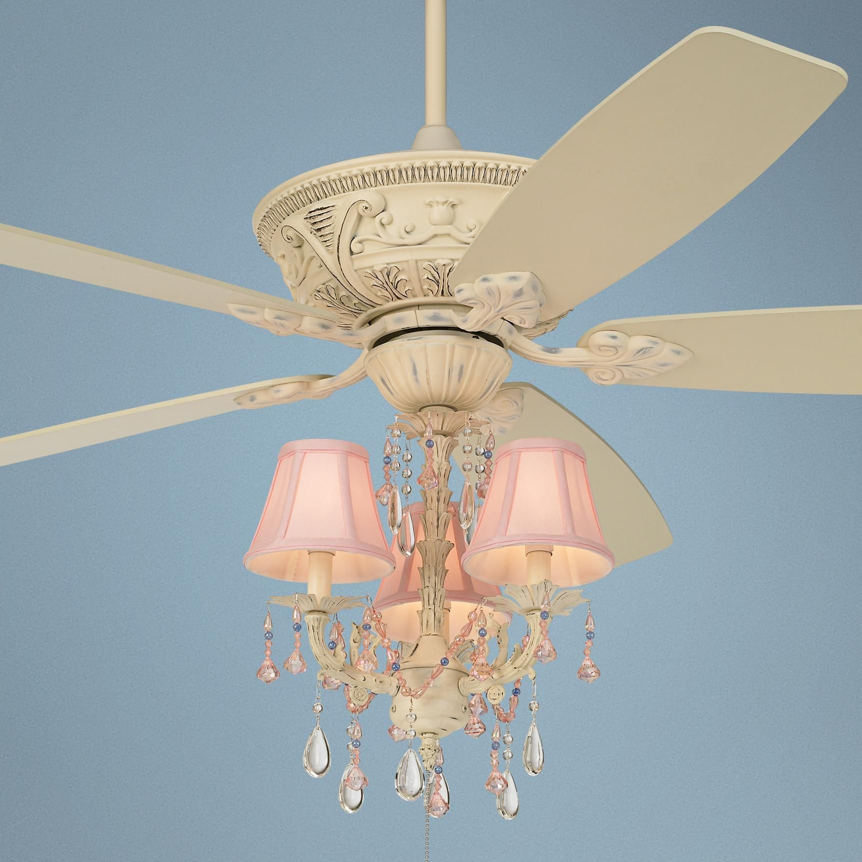 "Cream Ceiling Fan Chandelier: Cream And Pink / 60"" Casa Vieja Mentego Pretty"