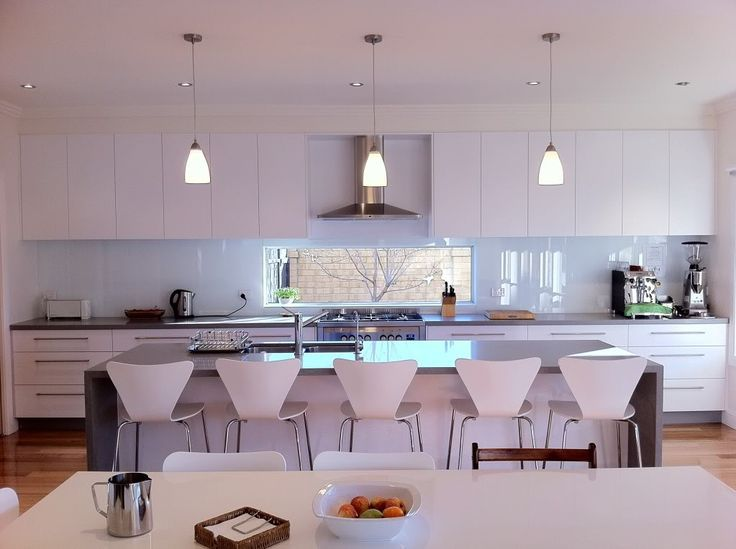 Pendants Lights, Modern Kitchens. Caeserstone Oyster Bench and 2pac Dulux Lexicon Half cupboards and Dulux Lexicon splash back: Hanging modern kitchen pendant lighting - Google Search
