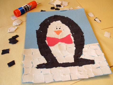 A Mosaic Penguin can be a fun craft with the kids, AND can teach shapes like squares, triangles & rectangles.