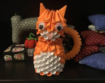 3D Origami Mini Owl Pink Cream READY TO SHIP