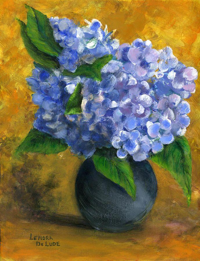 Big Hydrangeas In Little Black Vase By Lenora De Lude