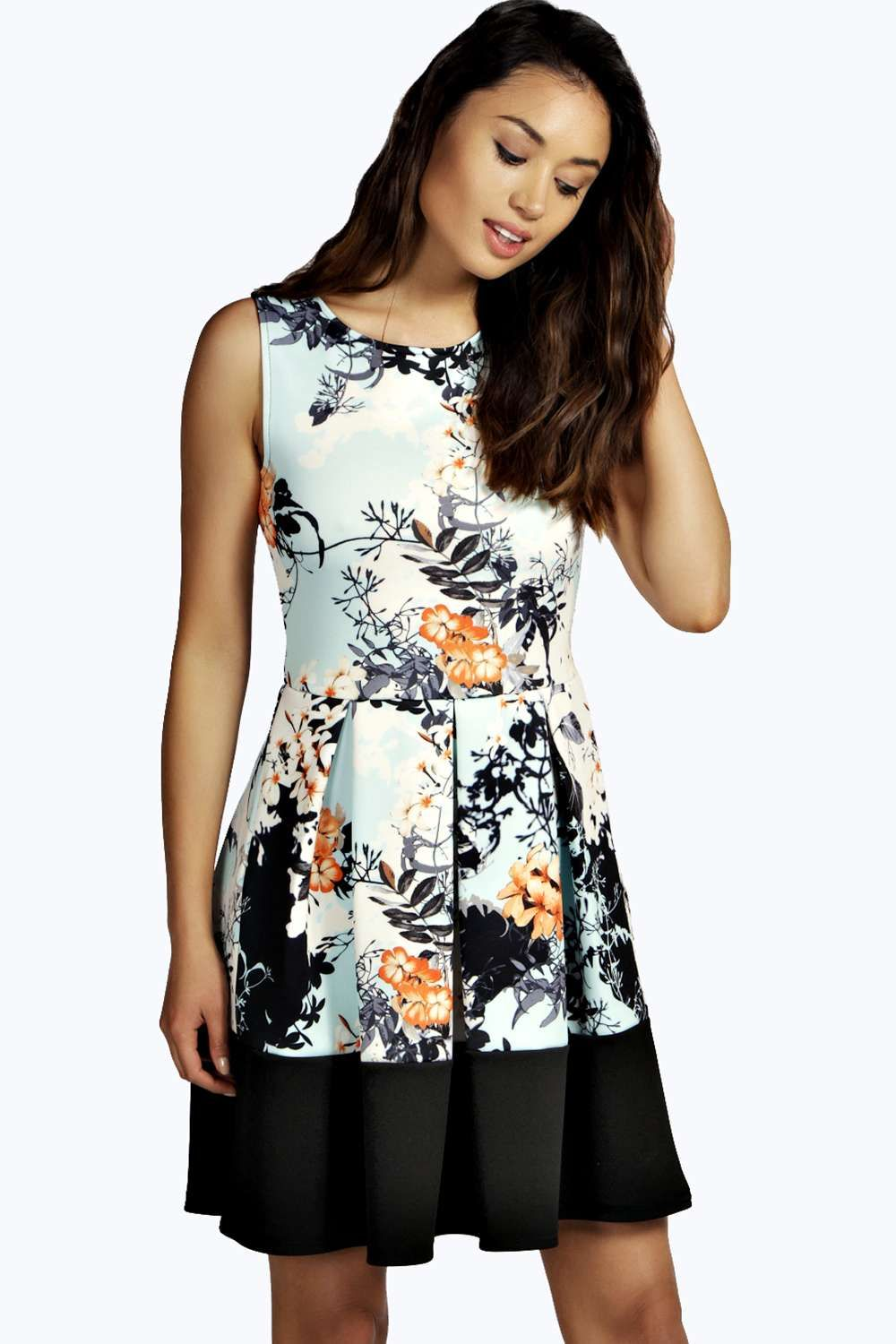 Alice Floral Box Pleat Skater Dress   Box pleats, Floral and Box