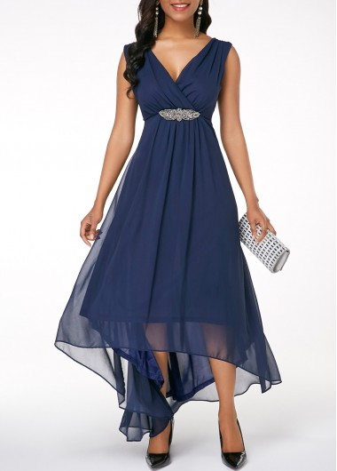 Sleeveless V Back High Low Navy Blue Dress #navyblueshortdress