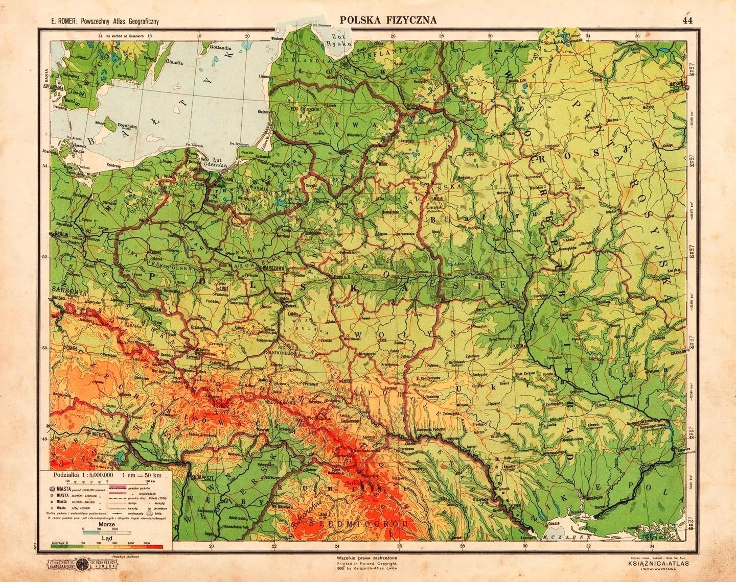 Eastern Europe Physical Map 1938 Mapmania Map Europe