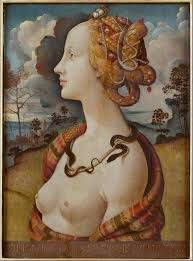 Portrait of Simonetta Vespucci, 1500, by Piero di Cosimo. It illustrates the typical Renaissance hairstyle of rich women, with the high shaved forehead and hair braided with pearls and gemstones.