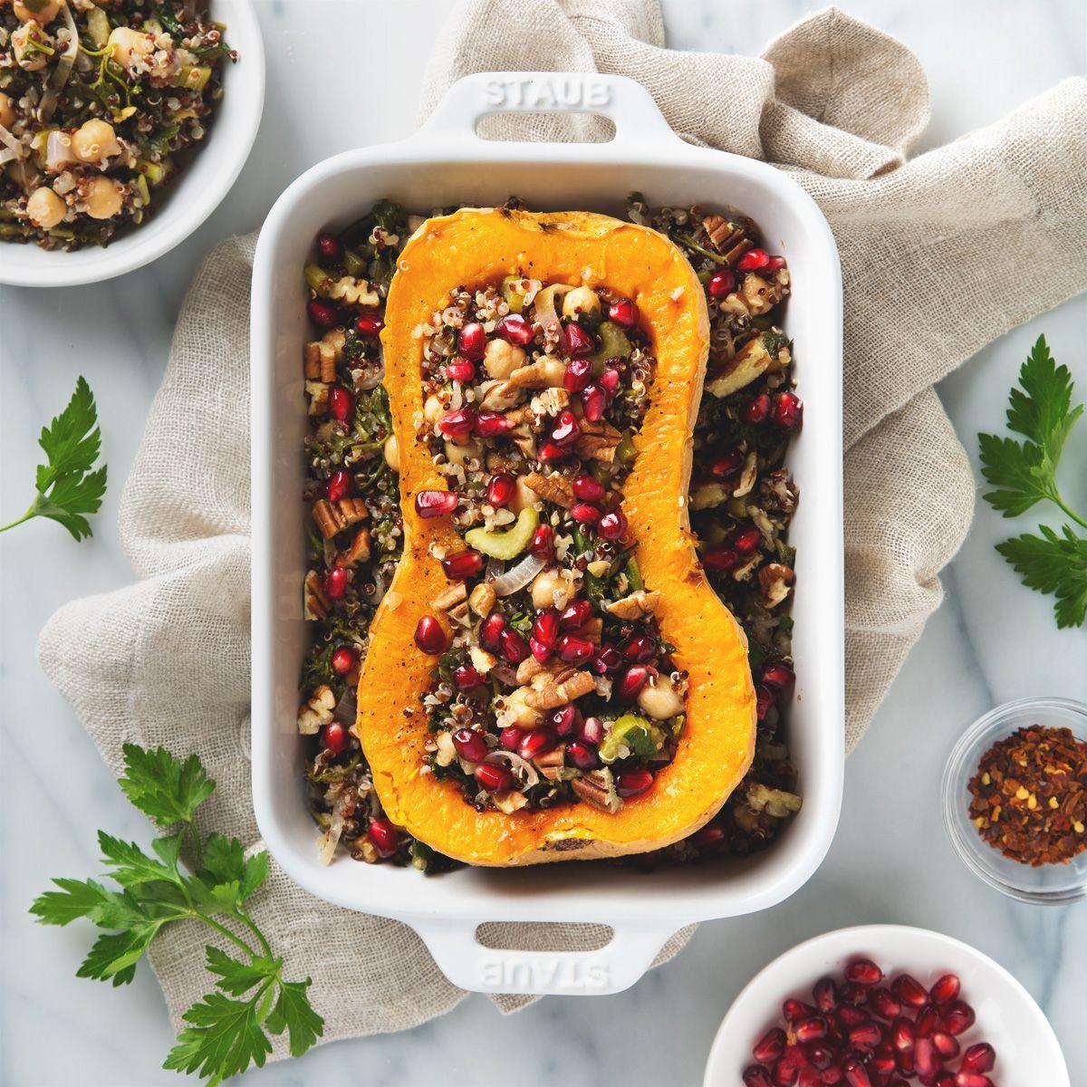 Stuffed Butternut Squash With Quinoa Salad Vegan Thanksgiving